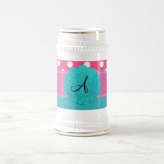 Monogram polka dots stripes coffee mugs