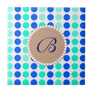 Monogram Polka Dots Ceramic Tiles
