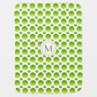 Monogram. Polka green pattern Receiving Blanket