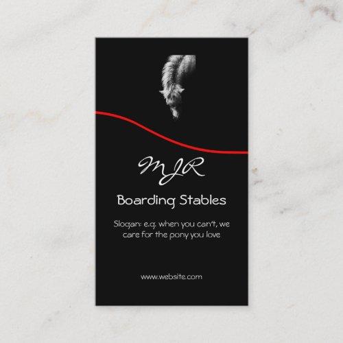 Monogram, Pony Portrait, red swoosh Business Card