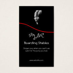 Monogram, Pony Portrait, Red Swoosh Business Card at Zazzle