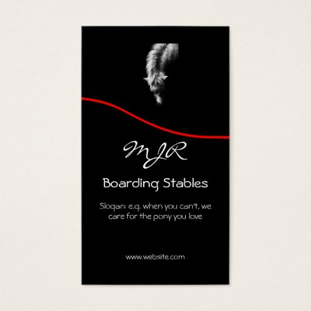 Monogram, Pony Portrait, red swoosh Business Card