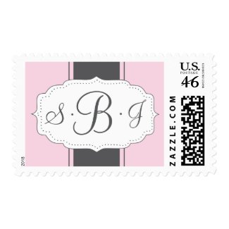 Monogram Postage in Pink and Gray stamp
