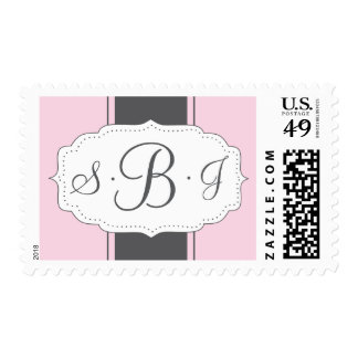 Monogram Postage in Pink and Gray