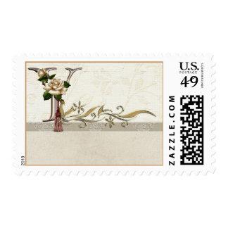 Monogram Postage Rose Alphabet Letter Y