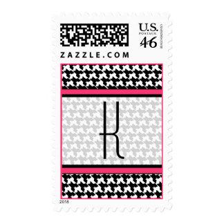Monogram Postage Stamp - Black Houndstooth