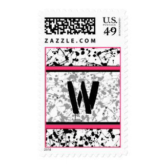 Monogram Postage Stamp - Black Paint Splatter