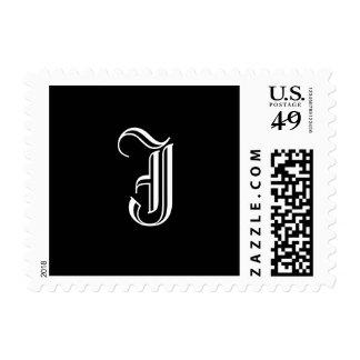 "Monogram Postage Stamp ""J""  Old English Style"