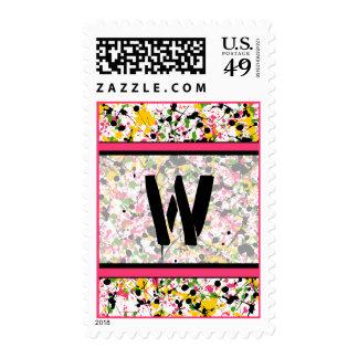 Monogram Postage Stamp - Multicolor Paint Splatter