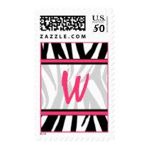 Monogram Postage Stamp - Zebra Print & Pink