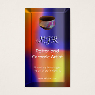 Monogram, Potter, Ceramic Artist, color swathe Business Card