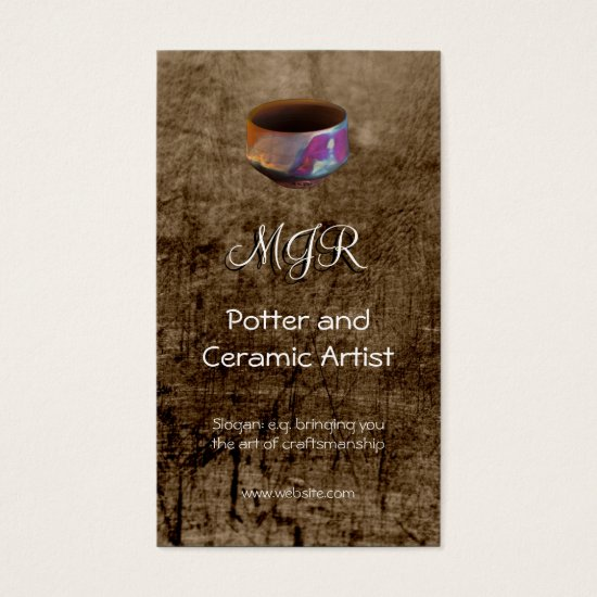 Monogram, Potter, Ceramic Artist, leather-effect Business Card