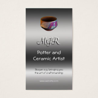 Monogram, Potter, Ceramic Artist, metallic-effect Business Card
