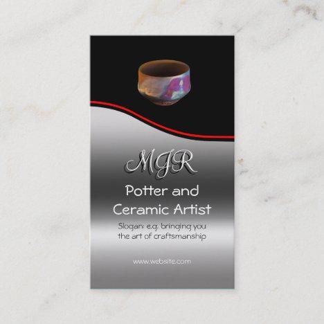 Monogram, Potter, Ceramic Artist, red swoosh Business Card