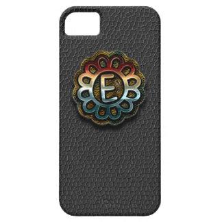 Monogram Precious Metals on Black Leather E iPhone SE/5/5s Case