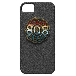 Monogram Precious Metals on Black Leather Q iPhone SE/5/5s Case