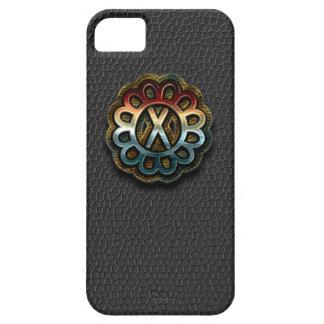 Monogram Precious Metals on Black Leather X iPhone SE/5/5s Case