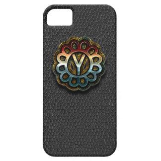 Monogram Precious Metals on Black Leather Y iPhone SE/5/5s Case