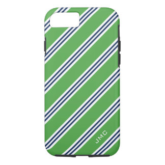 Monogram Preppy Green and Blue Stripes iPhone 8/7 Case