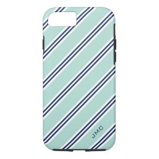 Monogram Preppy Mint Stripes iPhone 7 Case