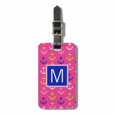 Beach Themed Monogram | Preppy Nautical Anchors Bag Tag