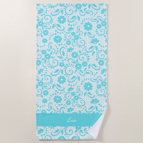 Monogram pretty aqua floral beach towel
