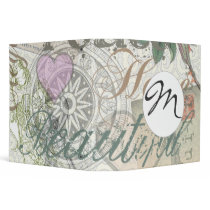 Monogram Pretty Floral Girly Pattern Binder