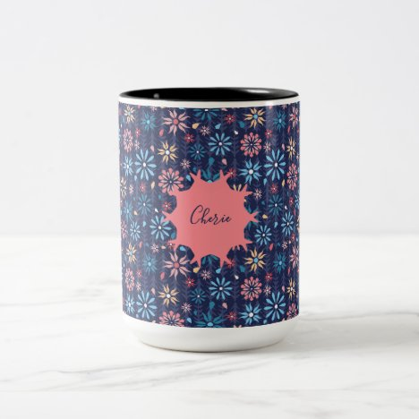Monogram pretty floral pastel flowers Two-Tone coffee mug