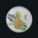 "Monogram Pretty Pineapple and Leaves Bluetooth Speaker<br><div class=""desc"">This pretty speaker features a watercolor painted pineapple,  along with leaves and a monogram template!</div>"
