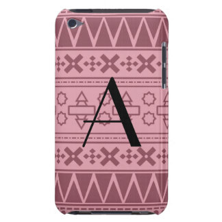 Monogram pretty pink aztec pattern barely there iPod cases