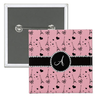 Monogram pretty pink eiffel tower pattern 2 inch square button