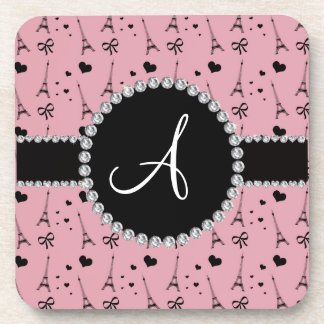 Monogram pretty pink eiffel tower pattern coaster