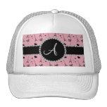 Monogram pretty pink eiffel tower pattern hats