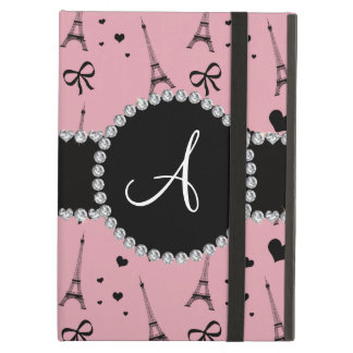 Monogram pretty pink eiffel tower pattern iPad air cover