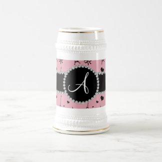 Monogram pretty pink eiffel tower pattern 18 oz beer stein