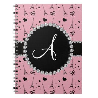 Monogram pretty pink eiffel tower pattern notebooks
