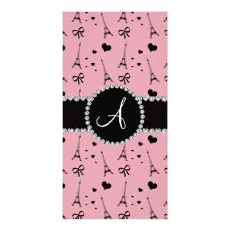 Monogram pretty pink eiffel tower pattern customized photo card