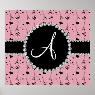 Monogram pretty pink eiffel tower pattern poster