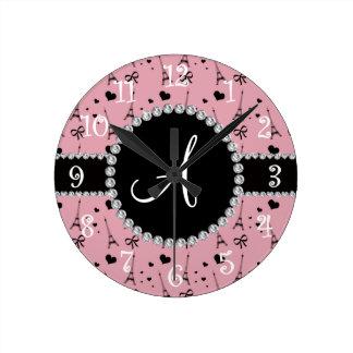 Monogram pretty pink eiffel tower pattern round clock