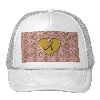 Monogram pretty pink gold moroccan damask mesh hats