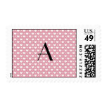 Monogram pretty pink hearts polka dots postage stamps