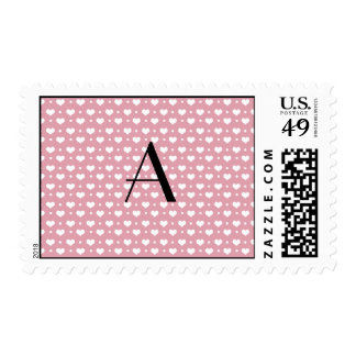 Monogram pretty pink hearts polka dots postage stamp