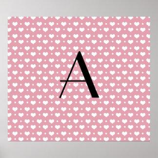 Monogram pretty pink hearts polka dots poster