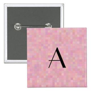 Monogram pretty pink mosaic squares pin