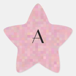 Monogram pretty pink mosaic squares sticker