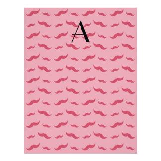 """Monogram pretty pink mustache pattern 8.5"""" x 11"""" flyer"""