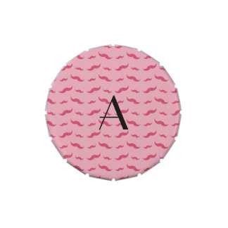 Monogram pretty pink mustache pattern jelly belly tins