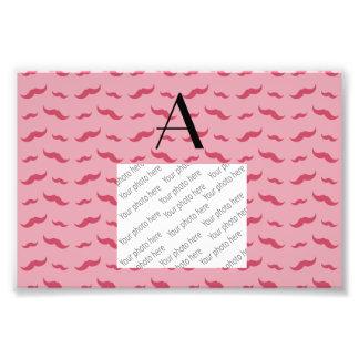 Monogram pretty pink mustache pattern art photo