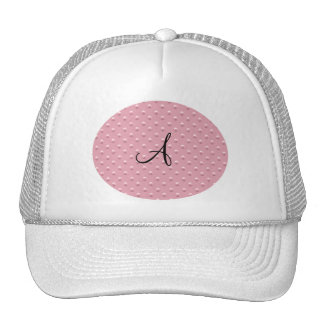 Monogram pretty pink pearl polka dots trucker hat