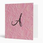 Monogram pretty pink roses faux texture vinyl binder